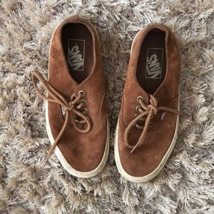 Suede Lace up vans- worn once!